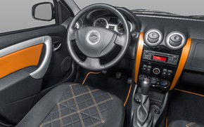 Picture the wheel, salon, radio, Lada Largus, grey-orange