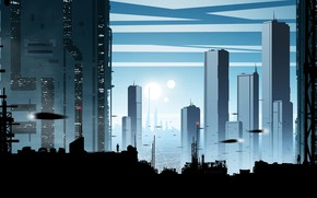 Wallpaper the city, future, people, silhouette, by kvacm