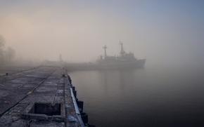 Wallpaper Marina, ship, fog