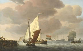 Wallpaper sail, seascape, Boats at the Shore. Fresh Breeze, Willem van de Velde the Younger, oil, ...