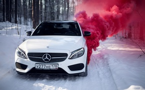 Picture winter, car, machine, auto, city, fog, race, tale, car, red, mercedes, sports car, car, need ...