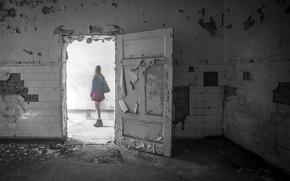Wallpaper girl, room, the door, Ghost