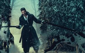 Picture winter, forest, dogs, snow, trees, actor, coat, photoshoot, Jamie Dornan, 2016, Jamie Dornan, Norman Jean …
