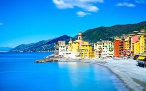 Wallpaper sea, beach, shore, Italy, Church, Italy, travel, Camogli, Liguria, basilica
