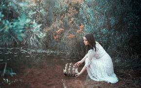 Wallpaper pond, girl, ship