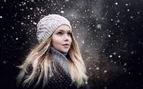 Picture winter, look, girl, snow, girl, Sergey Piltnik