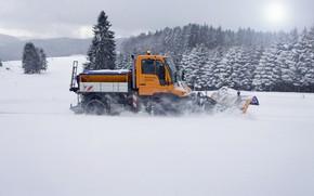 Picture snow, trees, Mercedes-Benz, machinery, Unimog, U400
