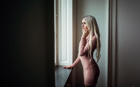 Picture pose, model, makeup, figure, dress, hairstyle, blonde, is, sexy, window, Maria, Misho Jovicic