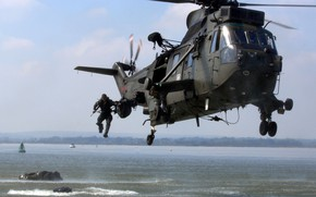 Wallpaper soldier, Royal Marines, Westland Sea King HAR3, rifle, gun, weapon, sea