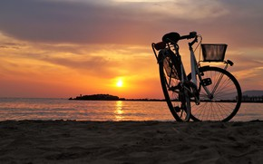 Wallpaper sea, bike, the evening, beach