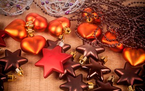 Picture decoration, toys, hearts, New year, stars