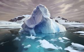 Picture ice, water, island, beauty, iceberg, art, Arctic