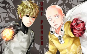 Picture anime, art, guys, cyborg, Saitama, One Punch Man, Genos