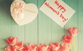 Wallpaper the inscription, March 8, gift, tulips, holiday, Happy Women's Day