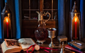 Wallpaper glasses, wine, bell, glass, watch, decanter, candles, books, style