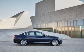Picture the building, BMW, profile, architecture, sedan, xDrive, 530d, Luxury Line, 5, dark blue, four-door, 2017, …