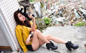 Picture girl, background, shoes, machine, legs, sitting