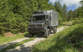 Picture road, greens, forest, Mercedes-Benz, Unimog, U4023, Bimobil EX 435