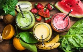 Picture berries, orange, watermelon, kiwi, strawberry, tube, drink, fruit, banana, mint, vitamins, smoothies