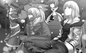 Picture girls, black and white, Touhou, Touhou