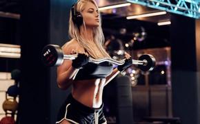 Wallpaper sport, girl, headphones, model, blonde, fitness, gloves, gym, fitness model, dumbbells, Workout, short shorts, barbell, ...
