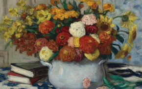 Picture books, picture, still life, Vase with Flowers, Albert Andre, Albert Andre