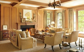 Picture style, Villa, interior, fireplace, living room
