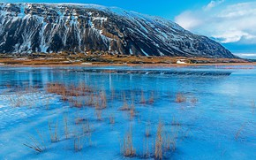 Picture snow, mountains, lake, Iceland