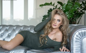 Picture pose, model, makeup, figure, dress, hairstyle, blonde, lies, beauty, on the couch, sexy, Cuba Michalski, …