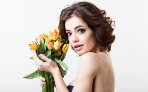 Picture look, girl, flowers, bouquet, makeup, hairstyle, tulips, white background, brown hair, beauty, March 8, women's …