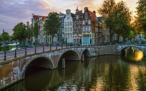 Picture trees, river, home, the evening, Amsterdam, channel, Netherlands, bridges