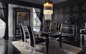Picture table, furniture, Villa, chairs, interior, chandelier, dining room