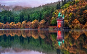 Picture autumn, trees, reflection, Wales, lake Vyrnwy, the drain tower