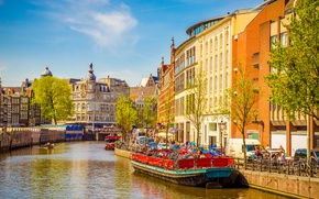Picture river, spring, boats, Amsterdam, Amsterdam, old, spring, buildings, Netherlands, canal