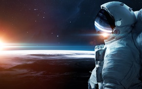 Wallpaper space, astronaut, the atmosphere, art, Earth, gravity, beautiful, infinity, weightlessness, bokeh, astronaut, wallpaper., the output ...