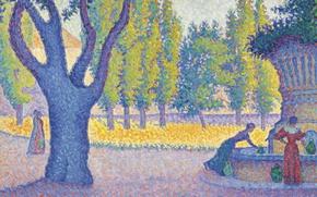Picture landscape, picture, Paul Signac, pointillism, Saint-Tropez. Fountain of Lices