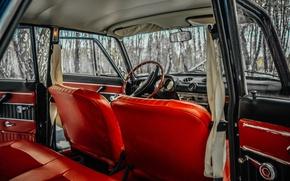 Picture orange, red, leather interior, 2103, Lada