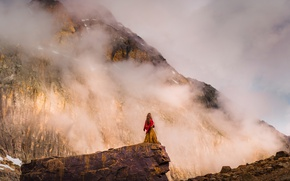 Picture girl, clouds, mountains, fog, open, mood, rocks, danger, hair, view, the situation, slope, dress, lonely, …