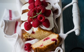 Wallpaper tray, cupcake, raspberry, berries