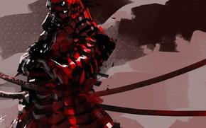 Picture red, background, armor, samurai
