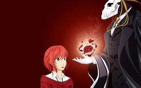Picture girl, rose, anime, art, fascinator, red background, Mahou Tsukai no Yome
