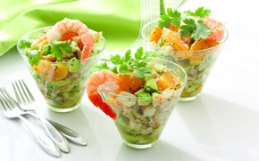 Picture mandarin, greens, shrimp, avocado, onions, cooking, recipe