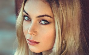 Picture look, close-up, face, portrait, makeup, hairstyle, blonde, beauty, bokeh
