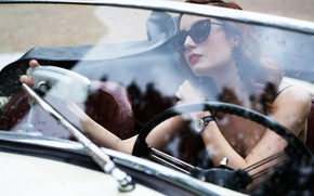 Picture machine, girl, watch, glasses, red, car