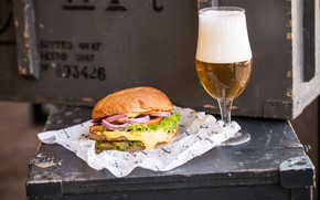 Picture beer, Hamburger, filling