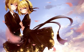 Picture the sky, girl, guy, two, Vocaloid, Vocaloid, Kagamine Len, Kagamine Rin