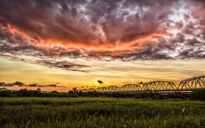 Picture road, field, sunset, bridge