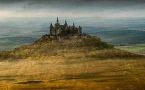 Wallpaper fog, Castle Hohenzollern, landscape