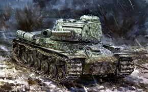 Picture Soviet, Art, The great Patriotic war, The object 240, Tank, period, The is-2, Heavy, USSR