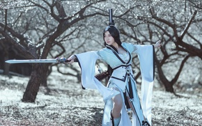 Picture look, girl, pose, style, sword, cosplay, East